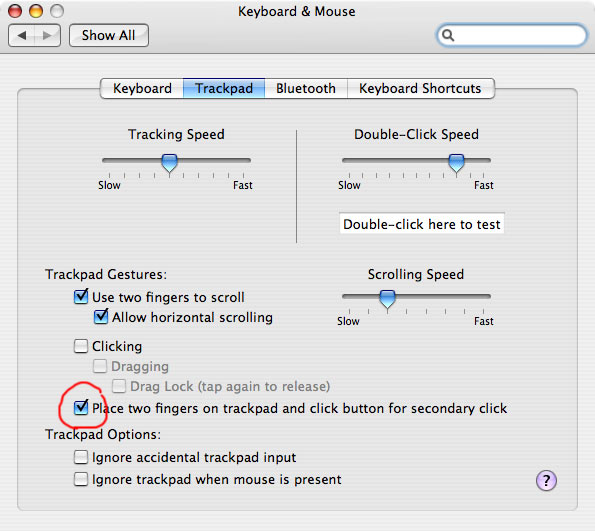 enable right-click on a Mac